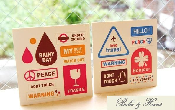 Free Shipping/Cute cartoon travel PU leather sticker / Decorative Sign Label / Multifunction / gift / Wholesale