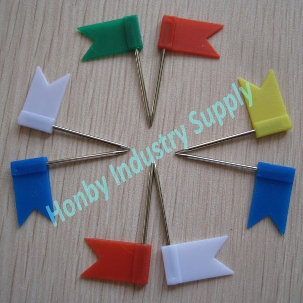 TNT,DHL free shipping 32mm assorted color plastic flag push pin
