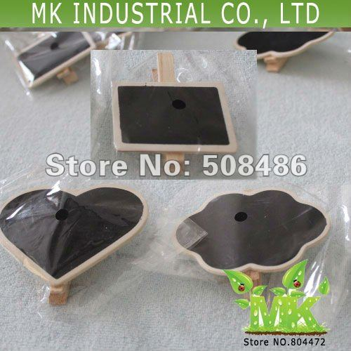 Wholesale cloud heart rectangle 3 shapes mini wooden blackboard spring clip 1000 units/lot MK148