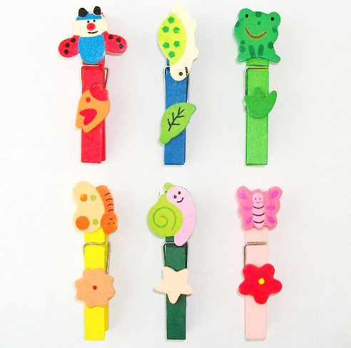Colorful Fancy Wooden Insect Cartoon small Card Paper Clip Office&School Nice Korean Style creative Gift Wholesale