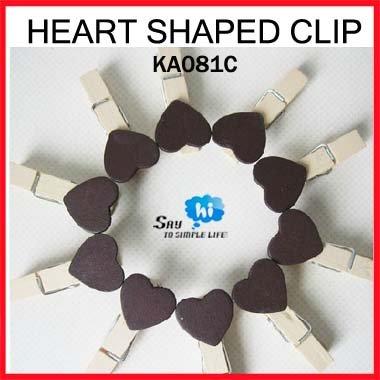 WHOLESALE clip exotic heart wooden COFFEE color romantic wedding decor photo paper snack memo gift say hi 200pcs/lot KA 081C