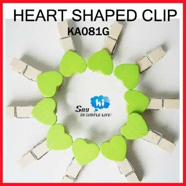WHOLESALE clip exotic heart shaped wood GREEN romantic wedding decoration photo snack memo 200pcs/lot say hi KA 081G