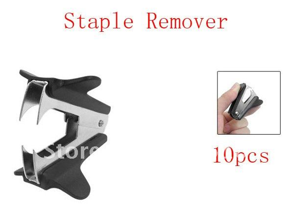 10pcs School Office Jaw Style Black Plastic Metal Staple Remover