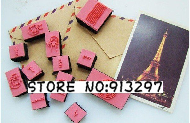 vintage antique post office seal Stamps 12PC+postcard 20PC+kraft paper envelope 10PC bookmark cards DIY gift craft