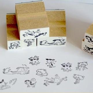 Diy stamp toy matches box 12 stamp girl dog kty-18