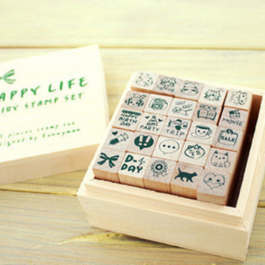Stamp full set 25 happy life diary stamp personalized stamp kty02