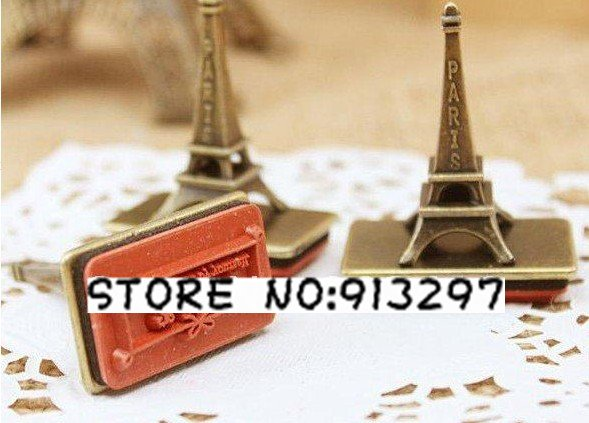 free shipping effiel tower Wooden vintage Antique lovely desgin Stamps seal DIY diary decor carved gift craft toy handwork