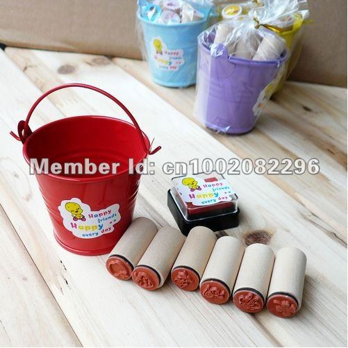 2012 cute wooden stamps,DIY 6 stes,6pcs packed in tub,wholesale free shipping,hot sale with a inkpad