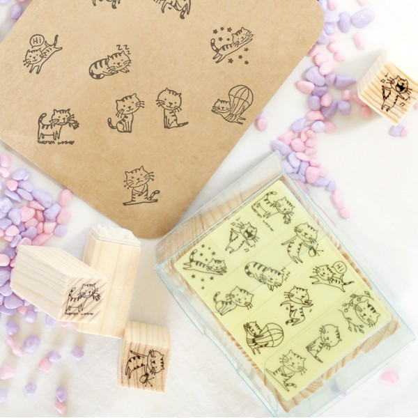 Diy stamp toy matches box 12 stamp small cat kty-19
