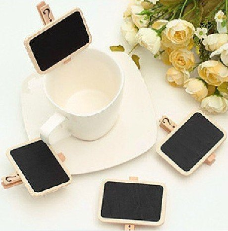 2012 Hot Wholesale Free shipping Wooden Blackboard Clip Lovely chalkboard clips Rectangular clip Cartoon clip 100pcs/lot