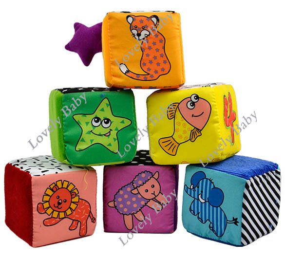 Kids Children Soft Cloth Baby Animal Digital Pattern Stacking Blocks Toys 6920