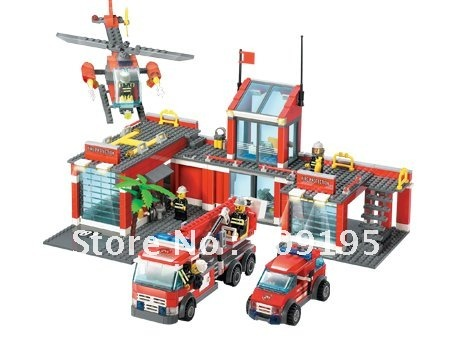 Christmas gift Enlighten Child 8051 Educational firefighter Car KAZI Assembles Particles Block Toys,children toys free Shipping