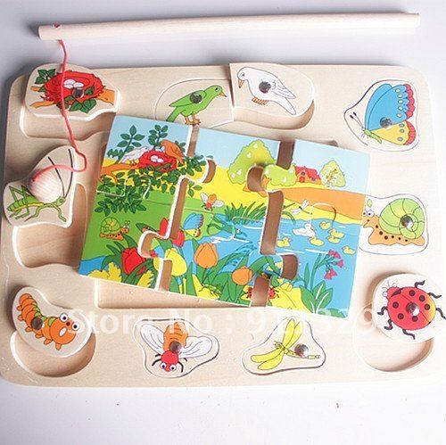 Best selling!!  Educational wooden toy Vivid funny colorful magnetic animal insect fishing jigsaw puzzle  Free shipping,1pcs