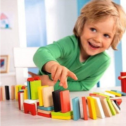 wholesale-Baby Early Learning educational toys 100pcs Many Colors Authentic Standard Wooden Children Domino Toys[03050107]
