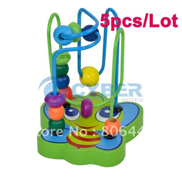 Holiday Sale Free Shipping 5pcs/Lot Mini Animal Track Rail Maze, Around Beads, Fancy Toy Animals Pearl Educational Wooden Toy