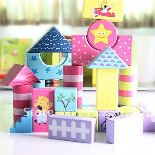 wooden colorful build blocks DIY toy for cute baby education#2082
