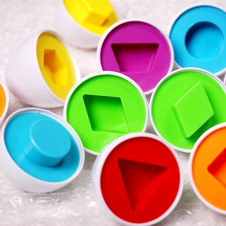 2012 kids educational toys Matching toys funny eggs Learn to identify colors and shapes toys 6pcs/set non-toxic plastic