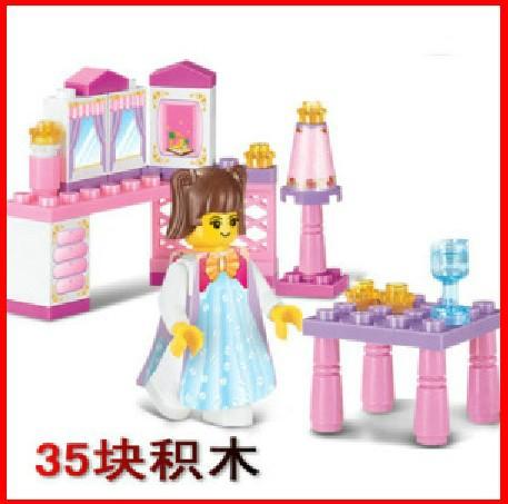 FREE Shipping! Enlighten Pink Princess Room Building Blocks / Educational Girls Plastic Building Blocks Toys