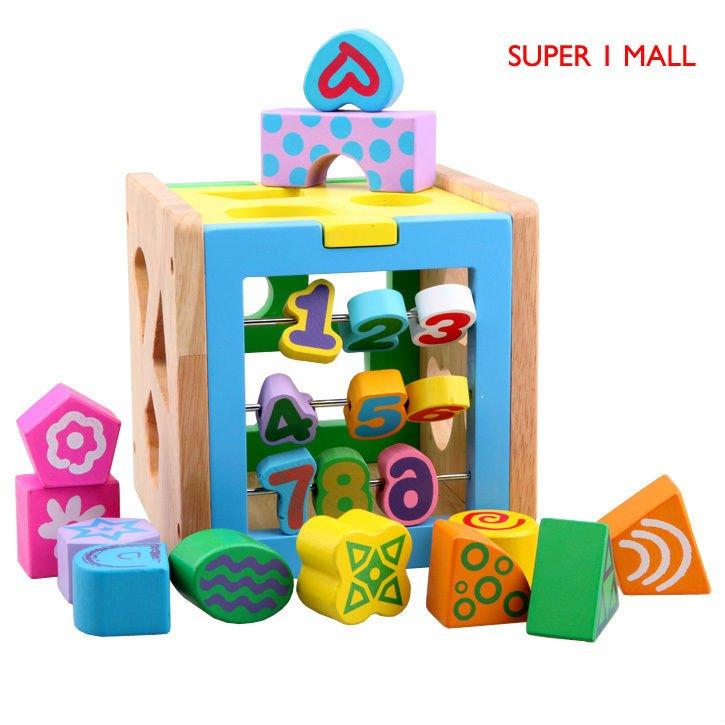 Hot sell the educational blocks digital shape wisdom box kid wood wooden toys building block sets