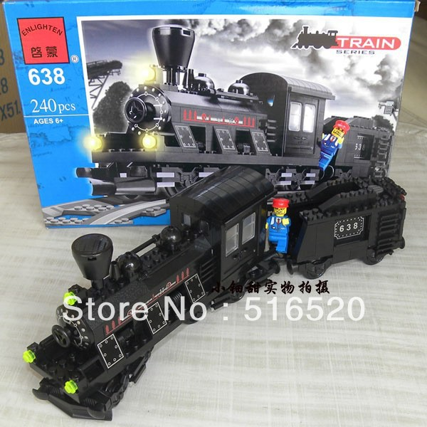 Enlighten Train Series Steam Freight Locomotive Building Block Sets 240pcs Educational DIY Construction Brick toys No.638