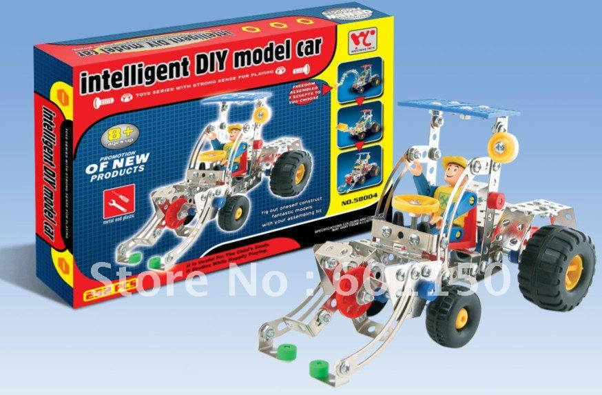 2012 enlighten metal mixed plastic block toys, make the car with accessories diy toy 58004+free shipping