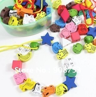free shipping(12pcs/dozen) Educational toys,Beaded blocks,String of beads,Woodiness beads