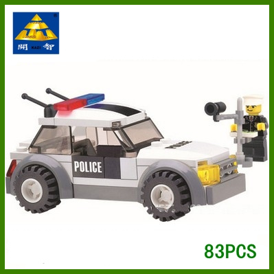 Child educational plastic building blocks assembling toys series.traffic policeman and  police car - Fostering creativity