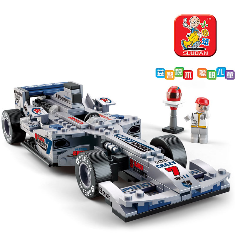 Small luban blocks equation automobile race f1 automobile race child assembled puzzle toy