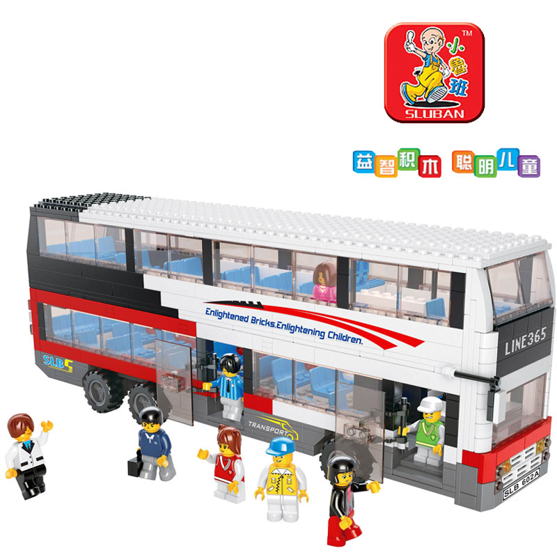 Small luban fight inserted blocks educational toys bus deluxe double layer big bus