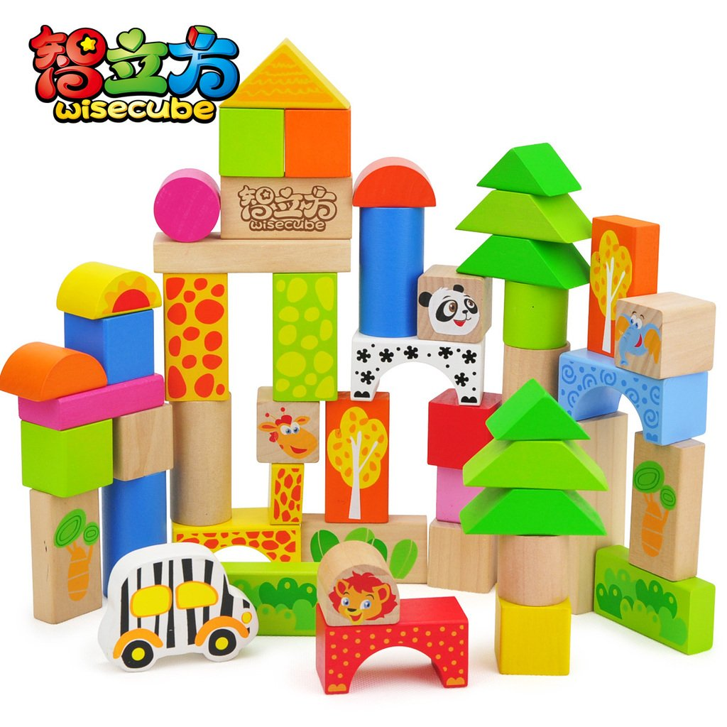 50 animal building blocks toy wool wooden bottled large blocks 1.2