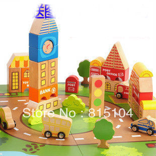 Free shipping Baby wooden toy Children's Traffic 98piece wooden building blocks educational puzzle toy W767