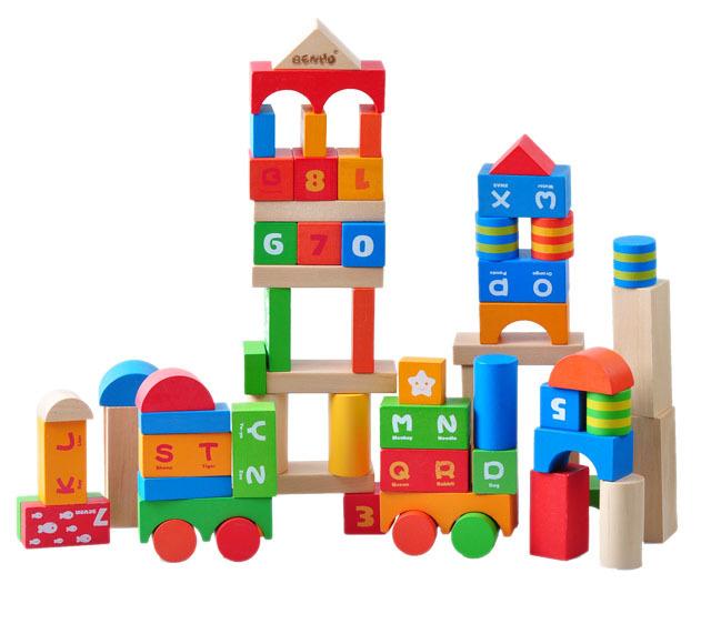 Good building blocks 100 bottled wooden blocks big wool toy 2.5