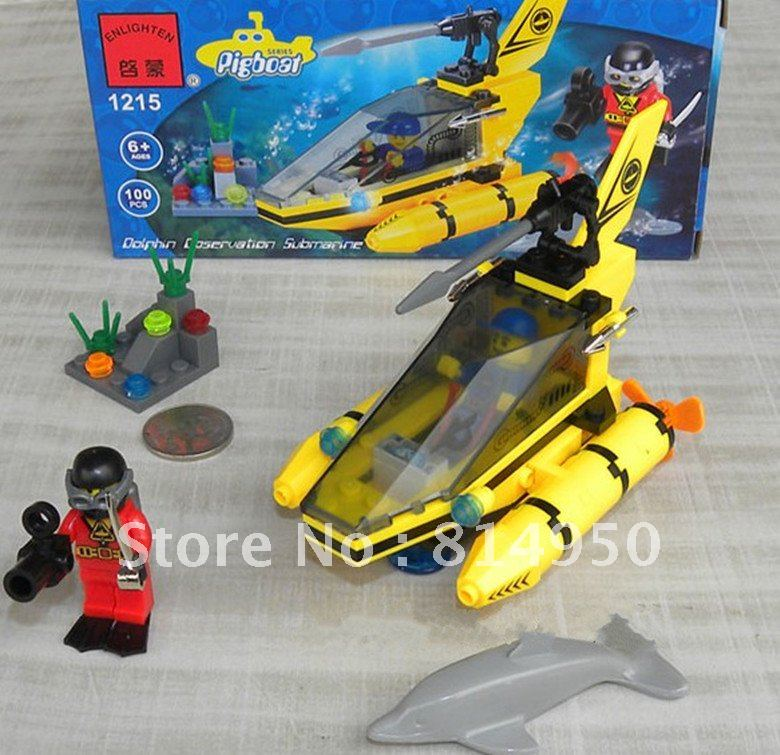3D Puzzle, Lego-type Building Block Set, Enlighten Brick Underwater aircraft Toys, the new year Gift,Children's educational toys