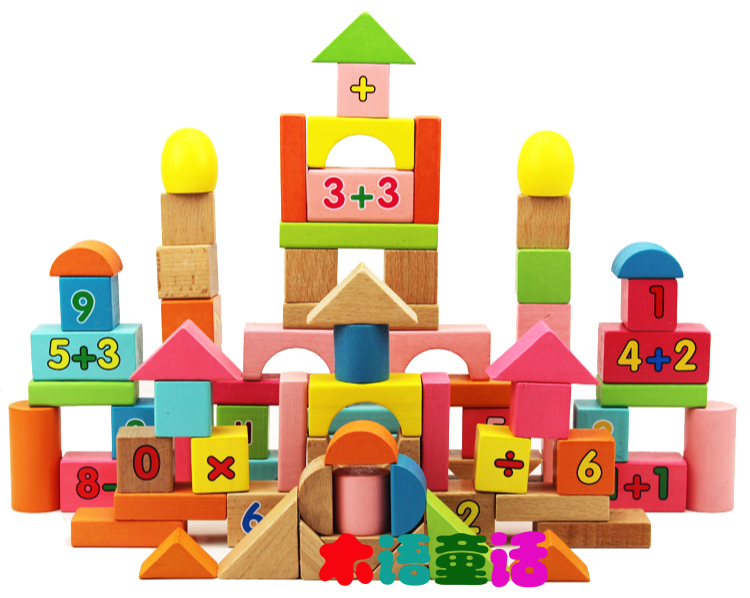 Wooden eco-friendly educational toys baby 80 beech building blocks wooden barrel of great shape