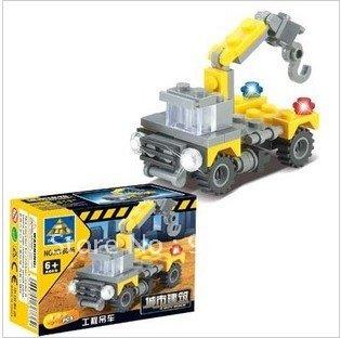 Hook machine truck series assembly blocks plastic toys building block sets