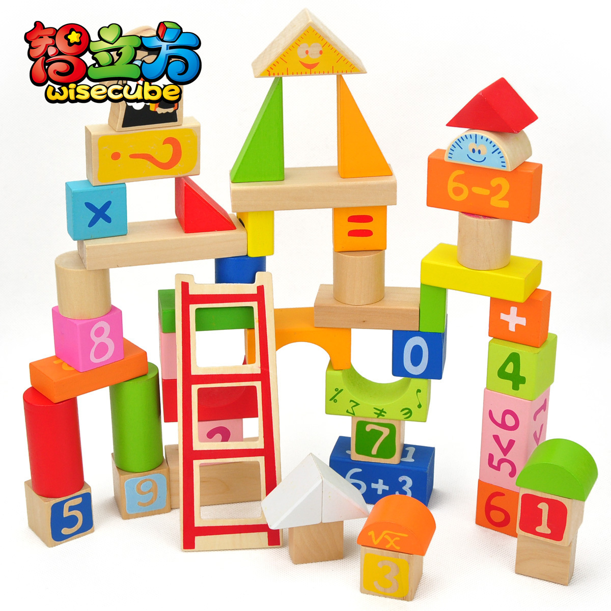 Building blocks toy wooden big 50 figure blocks wool puzzle toy