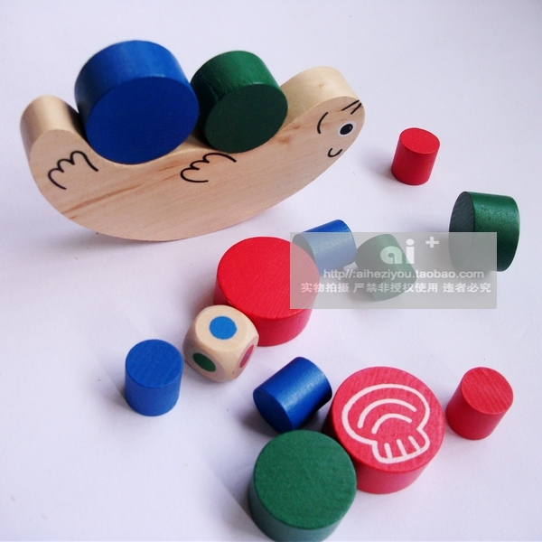 Snail balancing wood building blocks parent-child child puzzle wooden wool toy