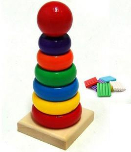 Small rainbow tower puzzle blocks