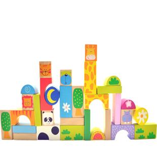Wooden puzzle child blocks 32 animal blocks multicolour boxed parent-child toys