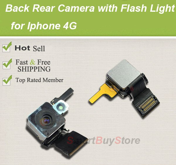Back Rear Camera Module Replacement With Flash. Flex Cable Cam Lens for Iphone 4G,Free Shipping