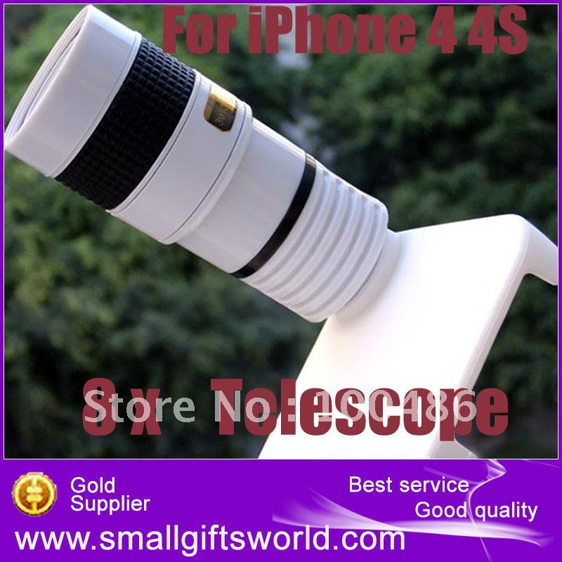 Free shipping 8x Zoom Optical Telescope Camera Lens with Mini Tripod Stand For iPhone 4 4S