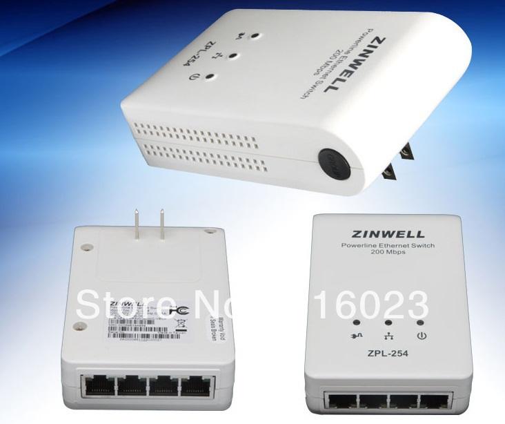 ZINWELL 200Mbps ZPL254 (4-PORT) HomePlug PowerLine Ethernet Adapters Kit Powerline switch