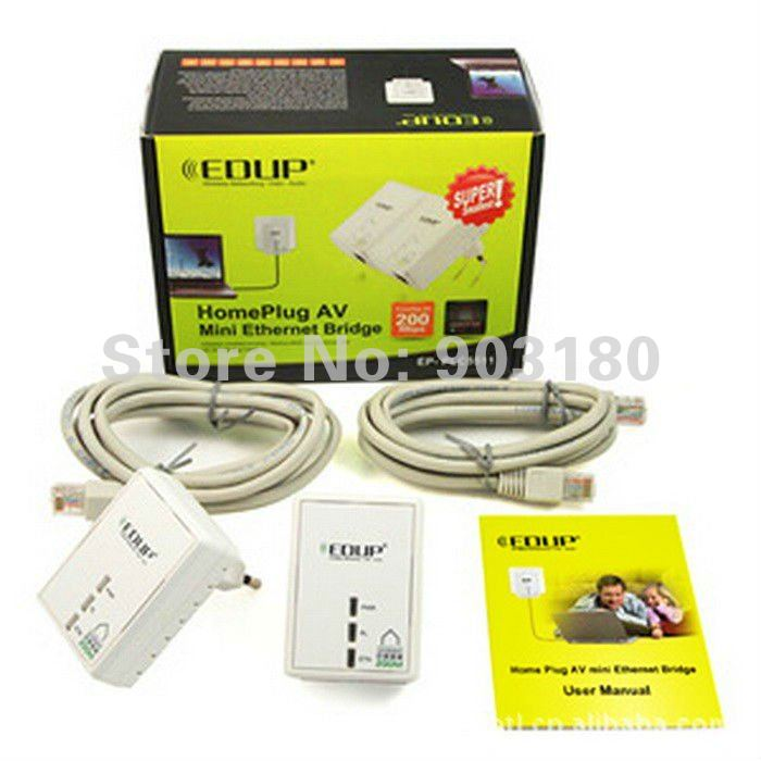 2012  Original EDUP PLC5511 200Mbps Powerline Power Line Network Adapter Starter Kit Plug Ethernet Adapter Homeplug x2 free ship