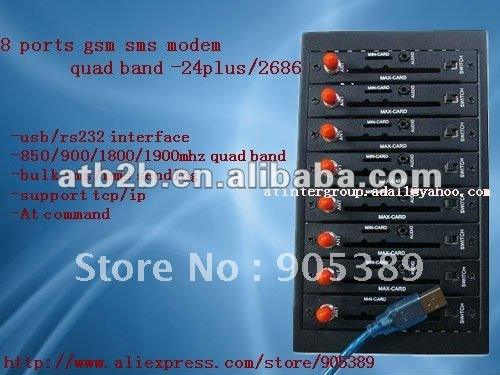 Fast speed quad band 8 ports gsm sms modem with free software