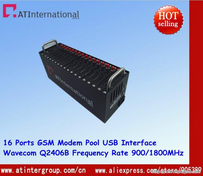 16 Ports Q2406B GSM/GPRS Modem Pool  SMS/MMS/Voice USB 900/1800MHz