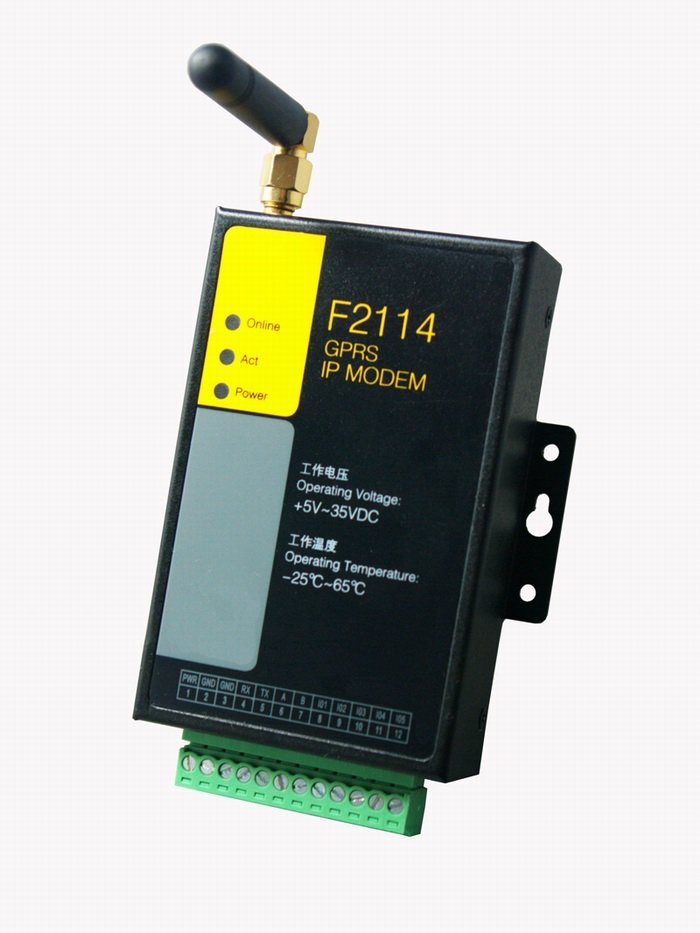 support RS232/RS485 F2114 Industrial gprs data terminal with I/O channels