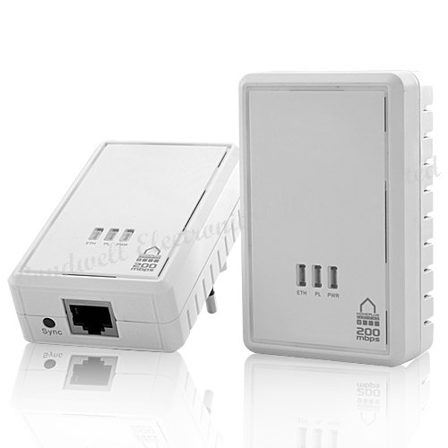 HomePlug Powerline Mini Ethernet Bridge Expands Your Network Using the Existing Electrical Wiring (200Mbps, 300m), Free Shipping