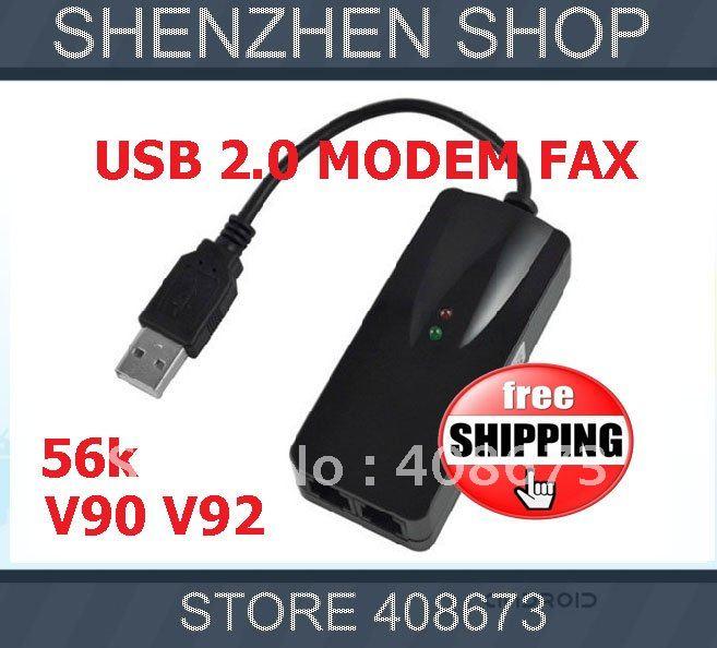 USB 2.0 Modem Fax data 56K External v90 v92 2x RJ11 + retail Box free shipping airmail HK