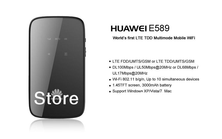 EMS/DHL Free shipping Huawei E589 4G Router brand new original hotspot WiFi 100M FDD LTE:2600/2100/1800/800MHz  new arrival