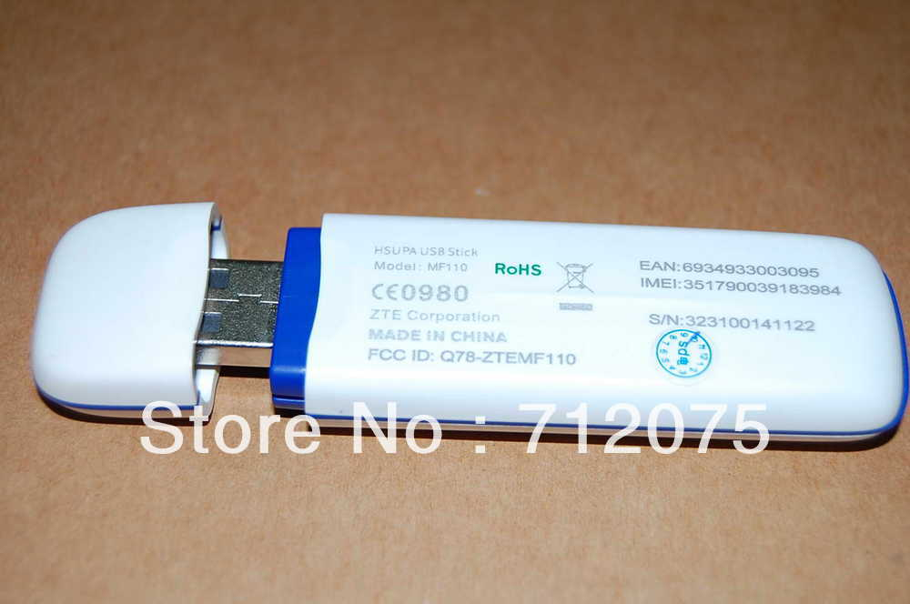 China Post Free shipping ZTE MF110 3G wireless Modem network card 7.2M unlocked dongle drop shipping 3G band 2100Mhz